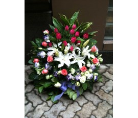 BK12 MIXED COLOUR ROSES WITH LILIES FLOWER BASKET