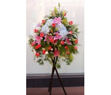 BK13 LARGE OPENING BASKET WITH HYDRANGEAS, TIGER LILIES, PINK ROSES & MIXING FLOWERS