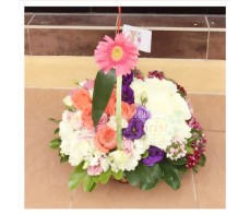 BK16 MIXED ROSES FLOWER BASKET