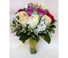 B10 Purple & White Roses Bouquet