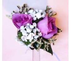 CO1 2PCS PURPLE ROSES CORSAGE/ HAND FLOWER