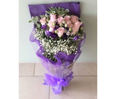 F10 12 PCS PINK ROSES BOUQUET WITH GREENS