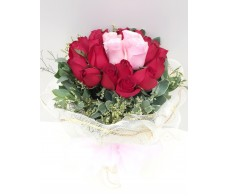 F100 20 PCS RED & 4 PCS PINK ROSES BOUQUET WITH WHITE WRAP & PINK RIBBON