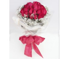 F101 24 PCS RED ROSES BOUQUET ROUND WRAP