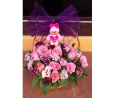 H3 PINK ROSES WITH MIXED FLOWERS BASKET WITH A SMALL PINK SOFT TOY