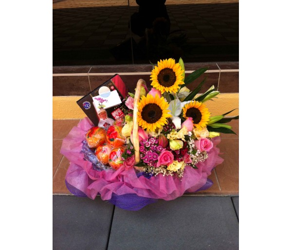 H5 HAMPER WITH SUNFLOWERS & ASSORTED FRUIT
