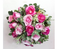 T10 16CPS DOUBLE PINK ROSES TABLE FLOWER IN ROUND